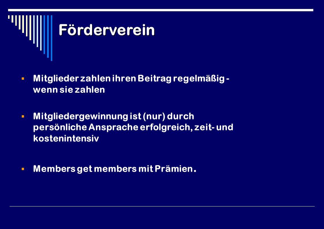  Mitglieder zahlen ihren Beitrag regelmäßig - wenn sie zahlen  Mitgliedergewinnung ist (nur) durch persönliche Ansprache erfolgreich, zeit- und kostenintensiv  Members get members mit Prämien.
