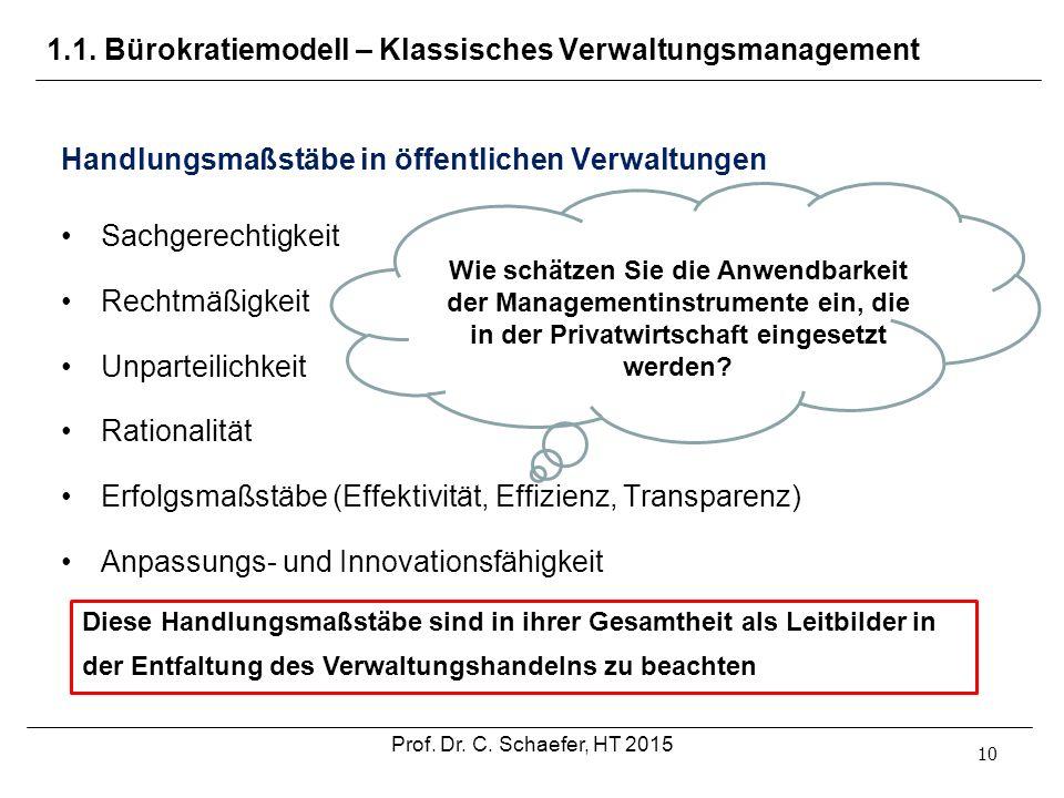 1.1. Bürokratiemodell – Klassisches Verwaltungsmanagement 10 Handlungsmaßstäbe in öffentlichen Verwaltungen Sachgerechtigkeit Rechtmäßigkeit Unparteil