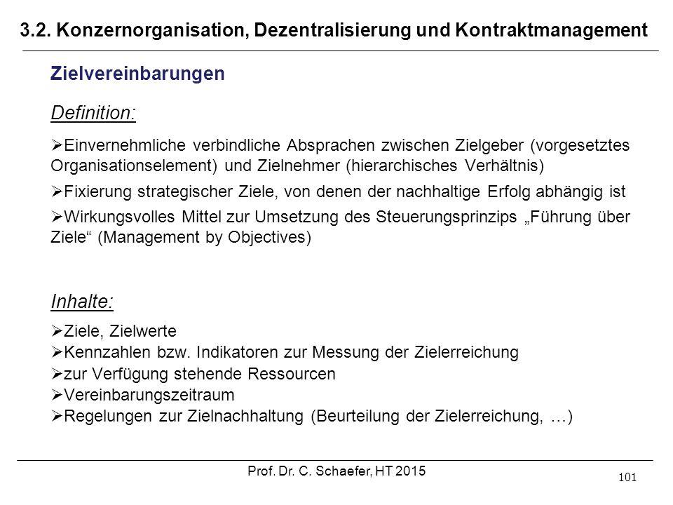 3.2. Konzernorganisation, Dezentralisierung und Kontraktmanagement 101 Zielvereinbarungen Definition:  Einvernehmliche verbindliche Absprachen zwisch
