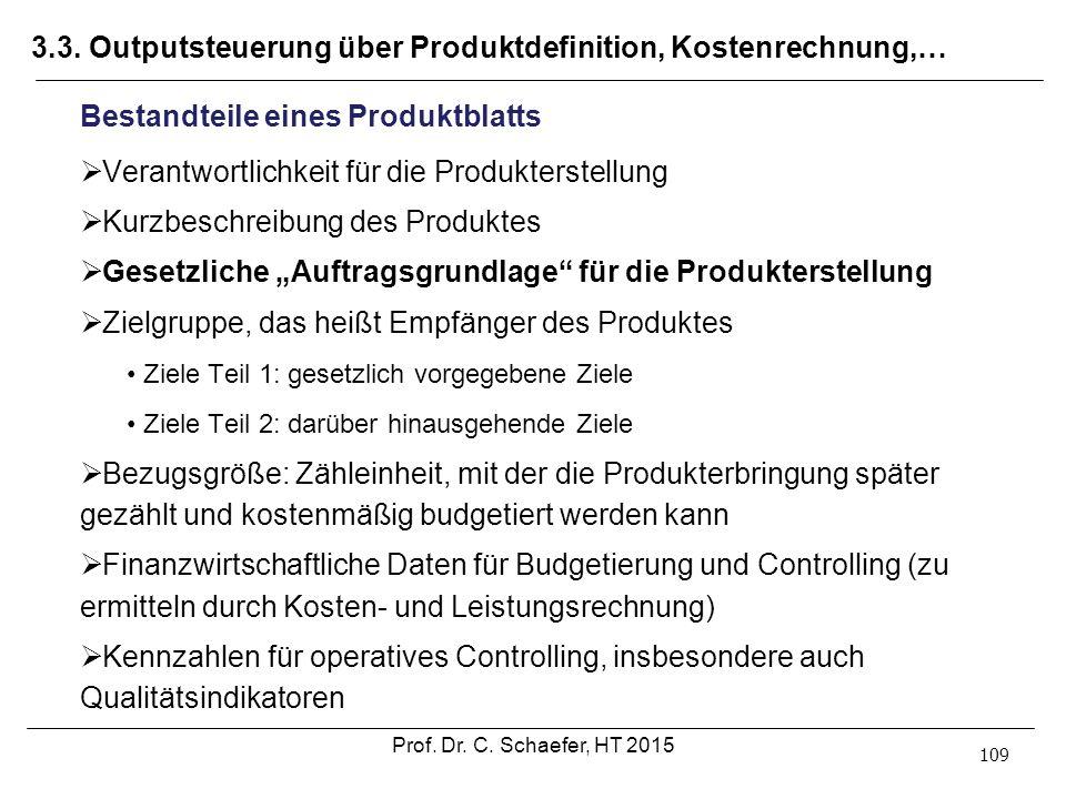 3.3. Outputsteuerung über Produktdefinition, Kostenrechnung,… 109 Bestandteile eines Produktblatts  Verantwortlichkeit für die Produkterstellung  Ku