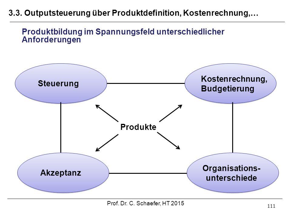 3.3. Outputsteuerung über Produktdefinition, Kostenrechnung,… 111 Produktbildung im Spannungsfeld unterschiedlicher Anforderungen Steuerung Akzeptanz