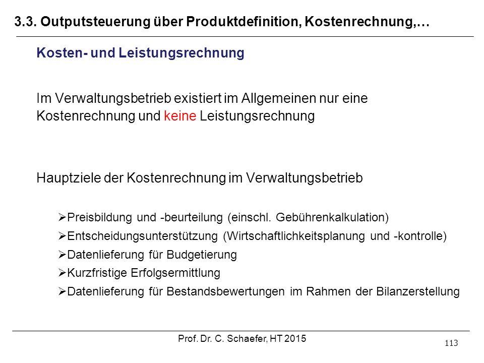 3.3. Outputsteuerung über Produktdefinition, Kostenrechnung,… 113 Kosten- und Leistungsrechnung Im Verwaltungsbetrieb existiert im Allgemeinen nur ein