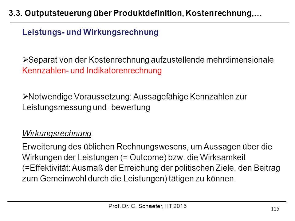 3.3. Outputsteuerung über Produktdefinition, Kostenrechnung,… 115 Leistungs- und Wirkungsrechnung  Separat von der Kostenrechnung aufzustellende mehr