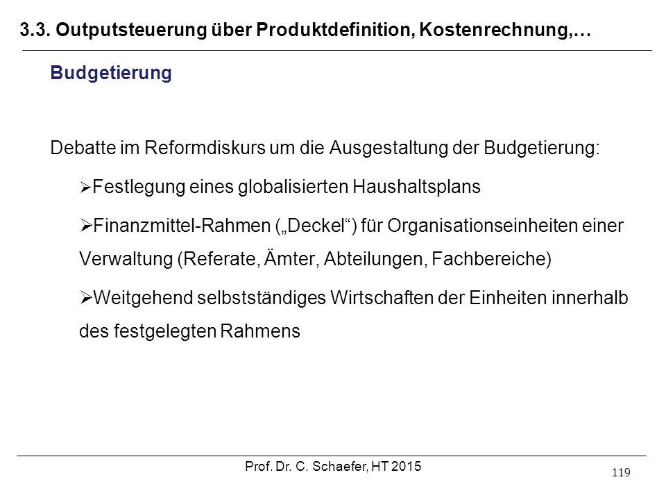 3.3. Outputsteuerung über Produktdefinition, Kostenrechnung,… 119 Budgetierung Debatte im Reformdiskurs um die Ausgestaltung der Budgetierung:  Festl