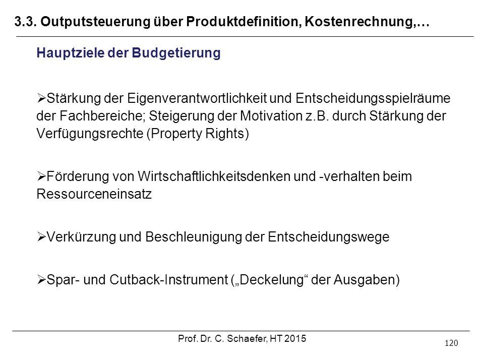 3.3. Outputsteuerung über Produktdefinition, Kostenrechnung,… 120 Hauptziele der Budgetierung  Stärkung der Eigenverantwortlichkeit und Entscheidungs
