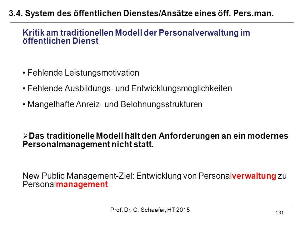 3.4. System des öffentlichen Dienstes/Ansätze eines öff. Pers.man. 131 Kritik am traditionellen Modell der Personalverwaltung im öffentlichen Dienst F