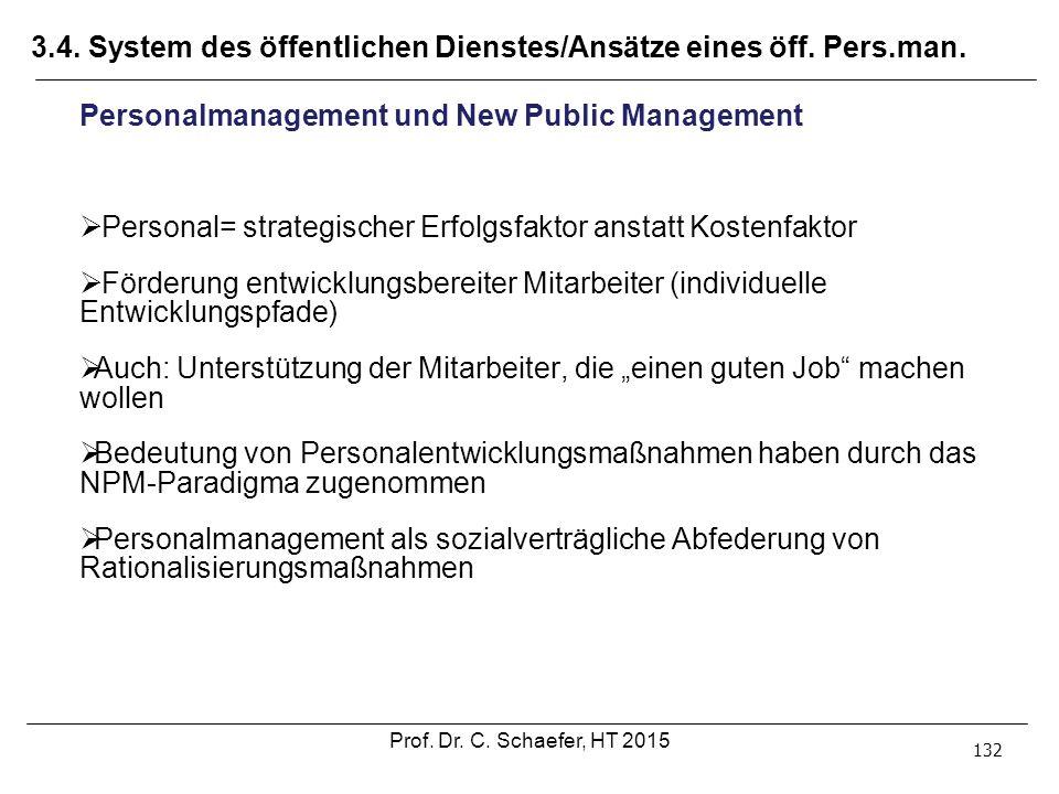 3.4. System des öffentlichen Dienstes/Ansätze eines öff. Pers.man. 132 Personalmanagement und New Public Management  Personal= strategischer Erfolgsf