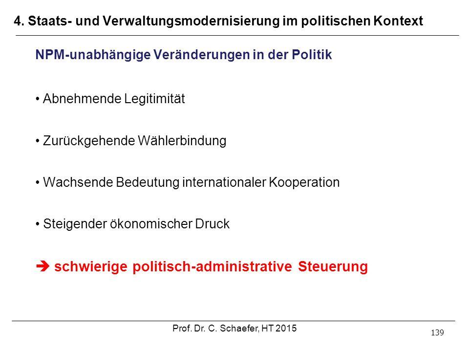 4. Staats- und Verwaltungsmodernisierung im politischen Kontext 139 NPM-unabhängige Veränderungen in der Politik Abnehmende Legitimität Zurückgehende