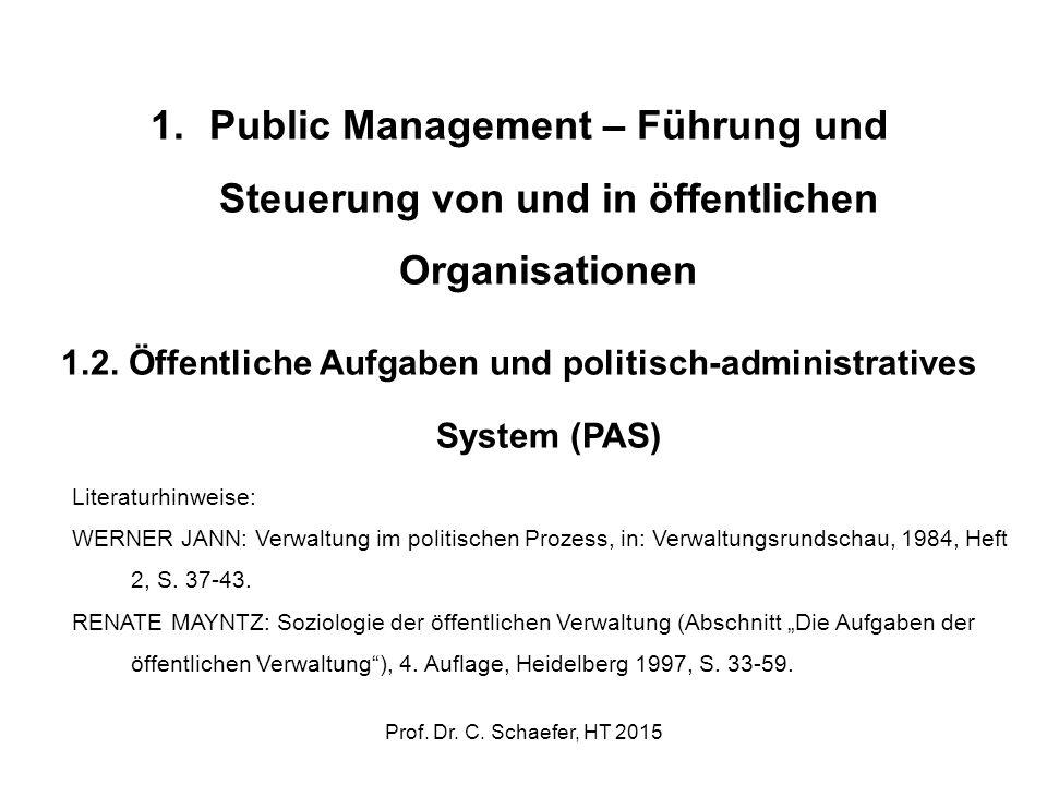 1.Public Management – Führung und Steuerung von und in öffentlichen Organisationen 1.2. Öffentliche Aufgaben und politisch-administratives System (PAS