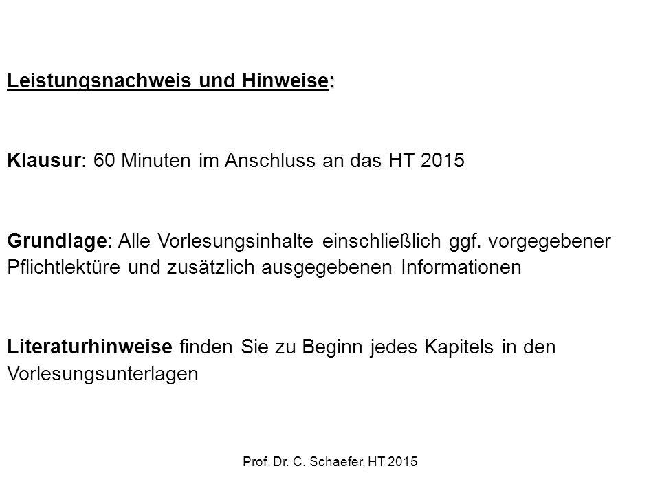 : Leistungsnachweis und Hinweise: Klausur: 60 Minuten im Anschluss an das HT 2015 Grundlage: Alle Vorlesungsinhalte einschließlich ggf. vorgegebener P