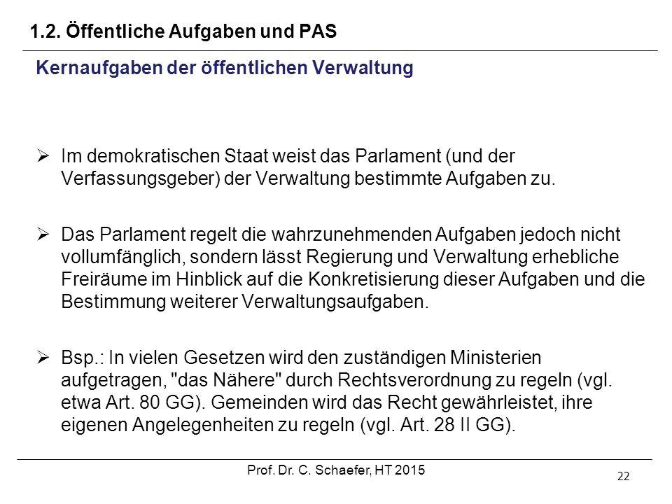 1.2. Öffentliche Aufgaben und PAS 22 Kernaufgaben der öffentlichen Verwaltung  Im demokratischen Staat weist das Parlament (und der Verfassungsgeber)