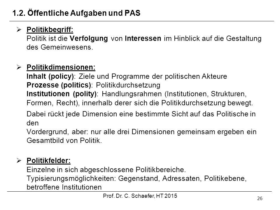 1.2. Öffentliche Aufgaben und PAS 26  Politikbegriff: Politik ist die Verfolgung von Interessen im Hinblick auf die Gestaltung des Gemeinwesens.  Po
