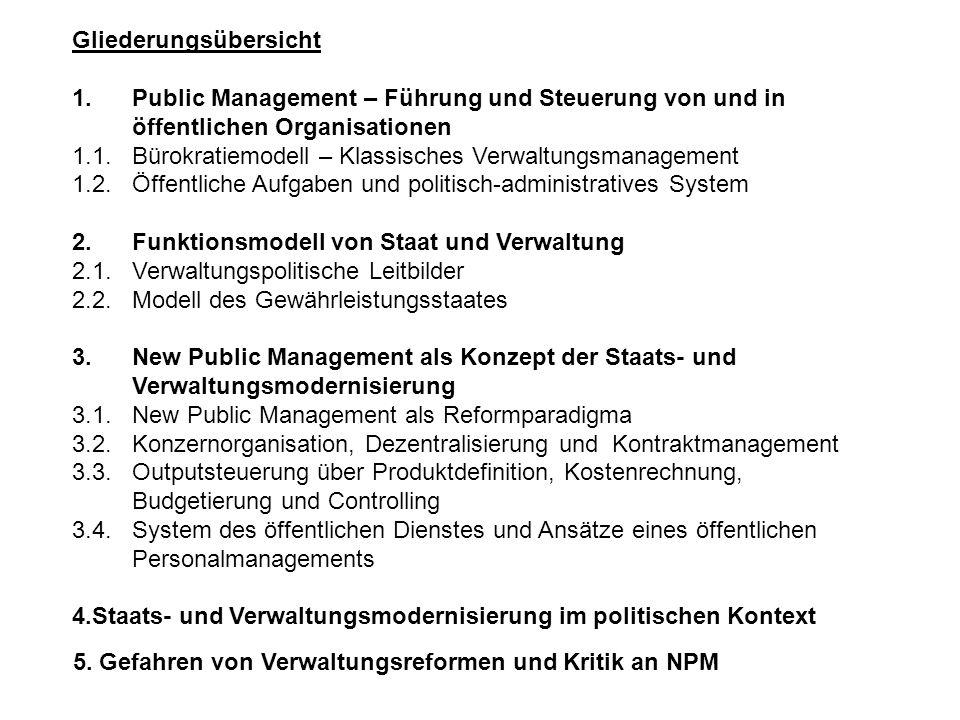 Gliederungsübersicht 1.Public Management – Führung und Steuerung von und in öffentlichen Organisationen 1.1.Bürokratiemodell – Klassisches Verwaltungs