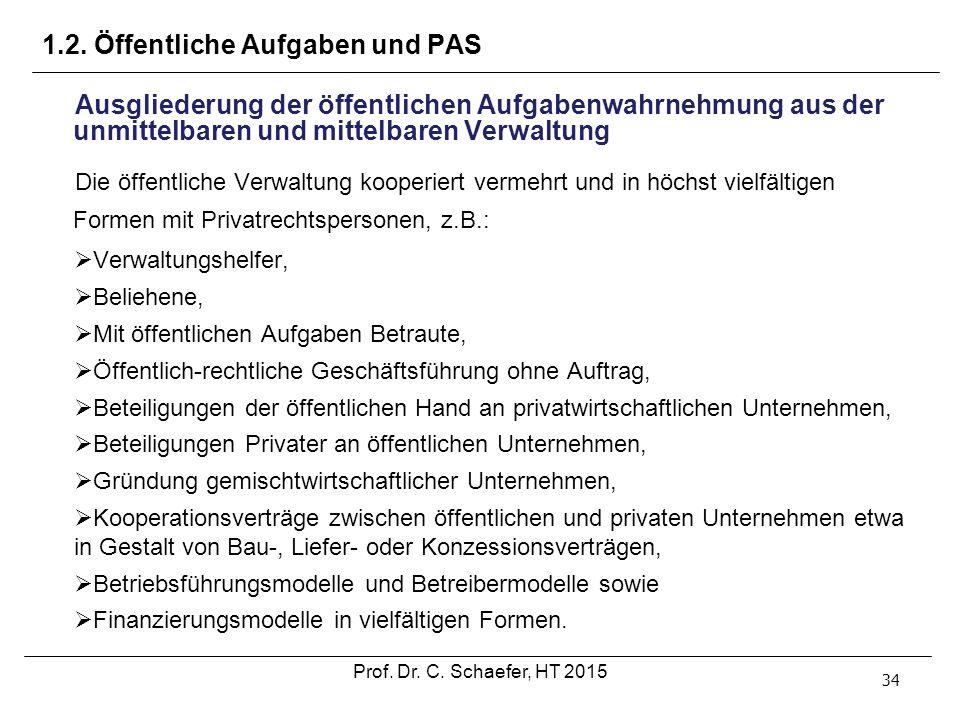 1.2. Öffentliche Aufgaben und PAS 34 Ausgliederung der öffentlichen Aufgabenwahrnehmung aus der unmittelbaren und mittelbaren Verwaltung Die öffentlic