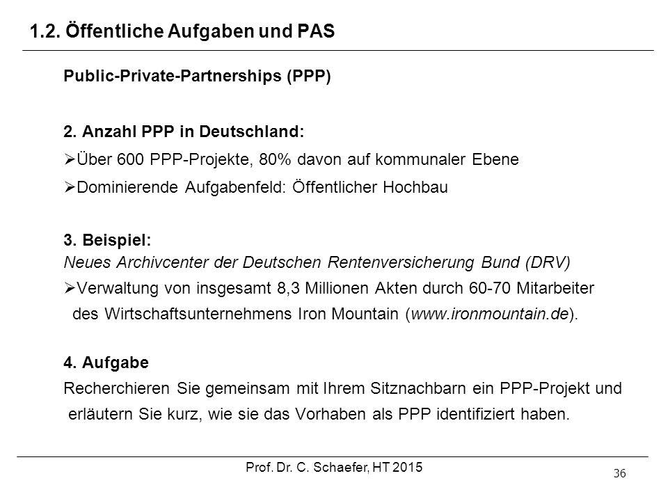 1.2. Öffentliche Aufgaben und PAS 36 Public-Private-Partnerships (PPP) 2. Anzahl PPP in Deutschland:  Über 600 PPP-Projekte, 80% davon auf kommunaler