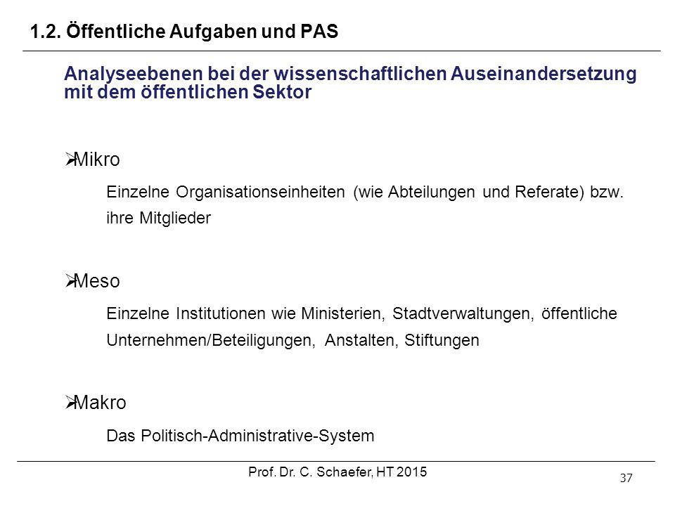 1.2. Öffentliche Aufgaben und PAS 37 Analyseebenen bei der wissenschaftlichen Auseinandersetzung mit dem öffentlichen Sektor  Mikro Einzelne Organisa