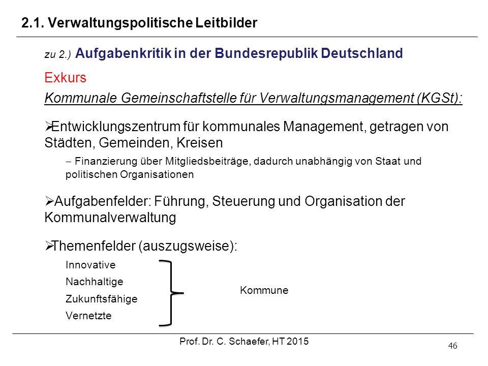 2.1. Verwaltungspolitische Leitbilder 46 zu 2.) Aufgabenkritik in der Bundesrepublik Deutschland Exkurs Kommunale Gemeinschaftstelle für Verwaltungsma
