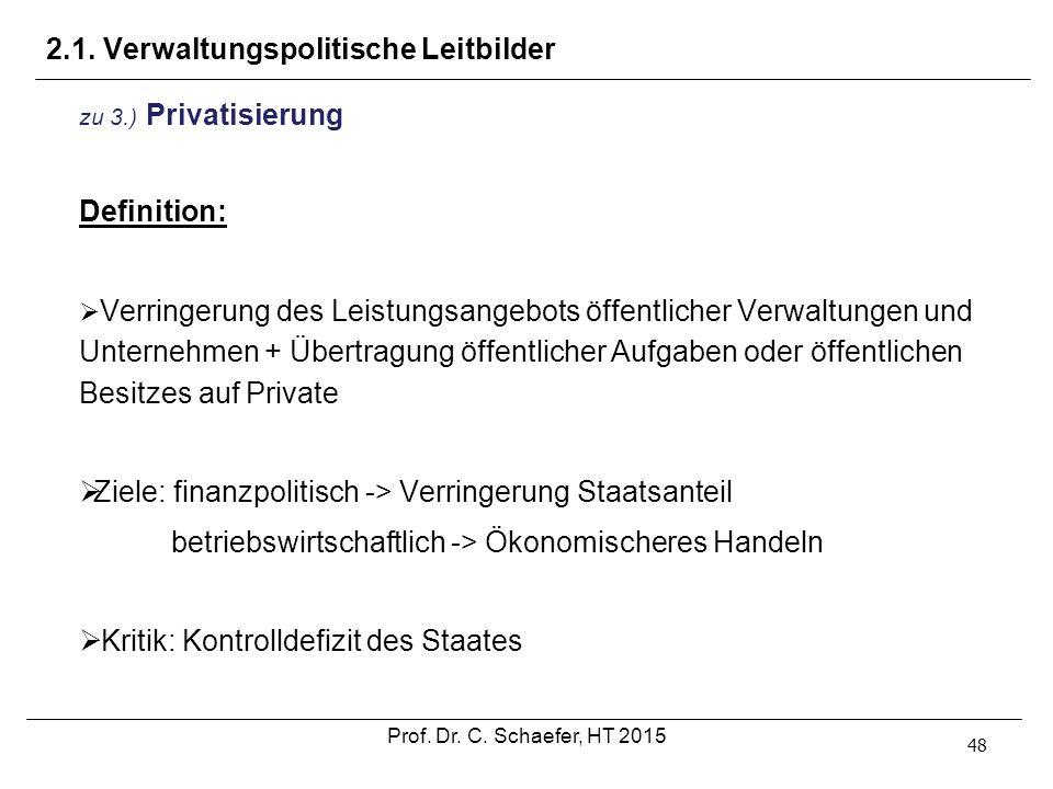 2.1. Verwaltungspolitische Leitbilder 48 zu 3.) Privatisierung Definition:  Verringerung des Leistungsangebots öffentlicher Verwaltungen und Unterneh