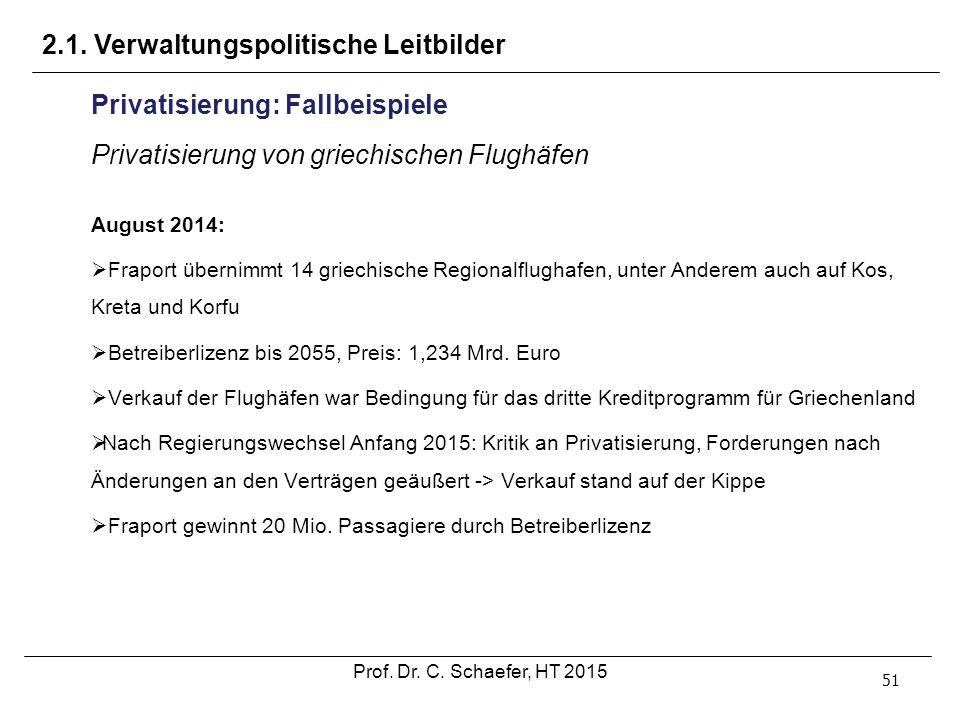 51 Privatisierung: Fallbeispiele Privatisierung von griechischen Flughäfen August 2014:  Fraport übernimmt 14 griechische Regionalflughafen, unter An