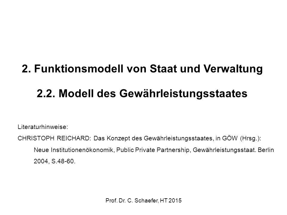 2. Funktionsmodell von Staat und Verwaltung 2.2. Modell des Gewährleistungsstaates Literaturhinweise: CHRISTOPH REICHARD: Das Konzept des Gewährleistu