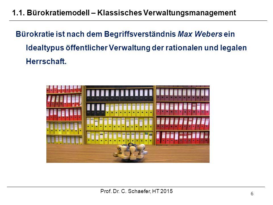 1.1. Bürokratiemodell – Klassisches Verwaltungsmanagement 6 Bürokratie ist nach dem Begriffsverständnis Max Webers ein Idealtypus öffentlicher Verwalt