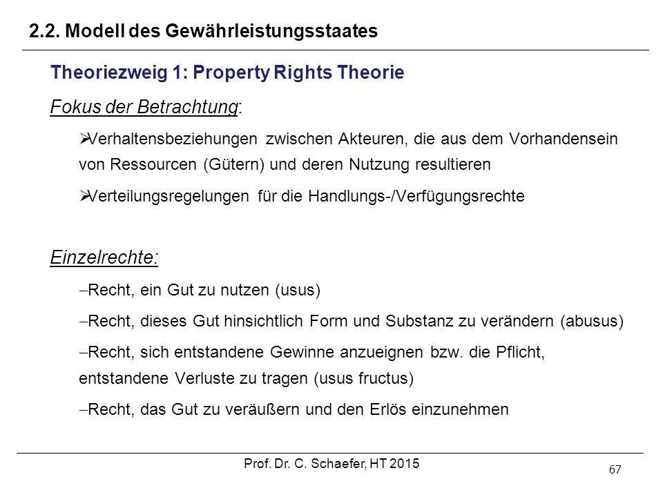 2.2. Modell des Gewährleistungsstaates 67 Theoriezweig 1: Property Rights Theorie Fokus der Betrachtung:  Verhaltensbeziehungen zwischen Akteuren, di