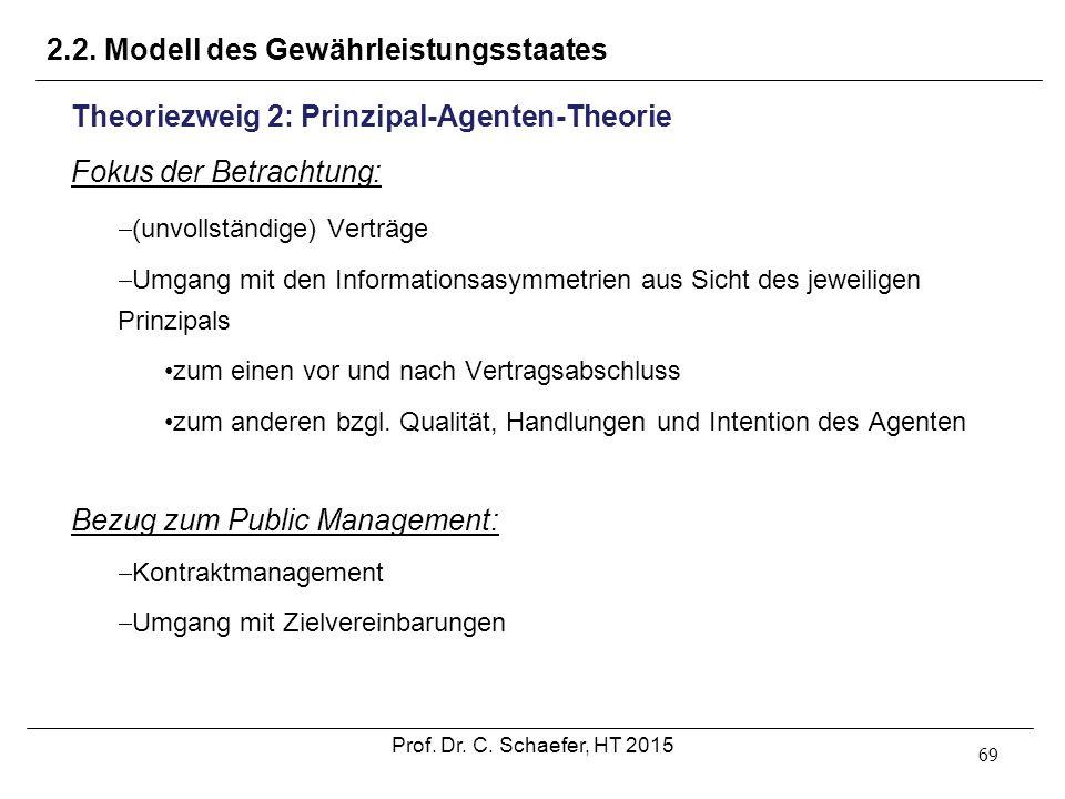 2.2. Modell des Gewährleistungsstaates 69 Theoriezweig 2: Prinzipal-Agenten-Theorie Fokus der Betrachtung:  (unvollständige) Verträge  Umgang mit de