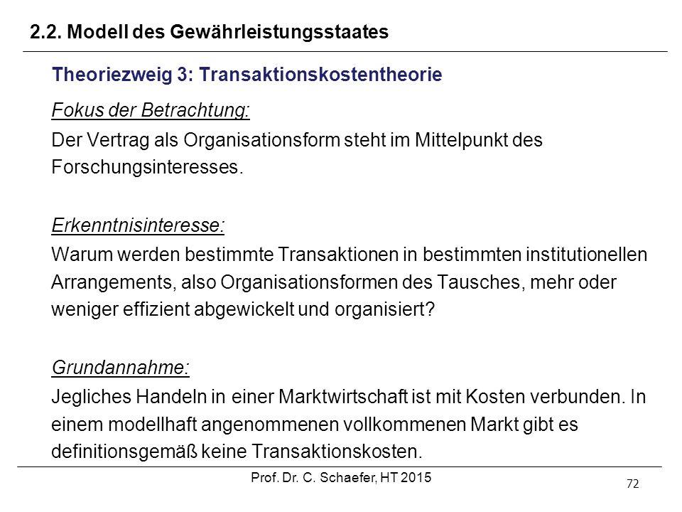 2.2. Modell des Gewährleistungsstaates 72 Theoriezweig 3: Transaktionskostentheorie Fokus der Betrachtung: Der Vertrag als Organisationsform steht im