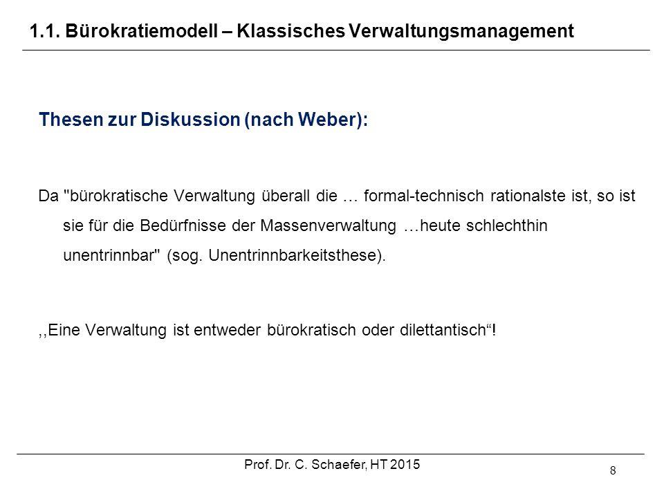 1.1. Bürokratiemodell – Klassisches Verwaltungsmanagement 8 Thesen zur Diskussion (nach Weber): Da