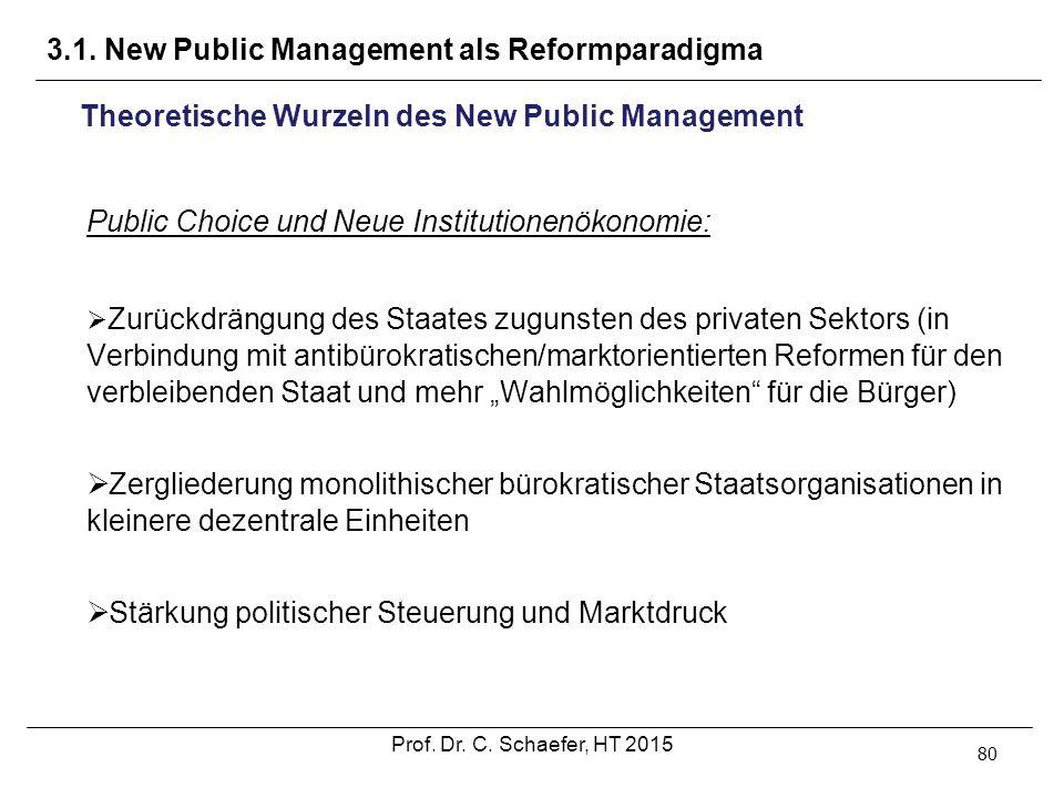 3.1. New Public Management als Reformparadigma 80 Theoretische Wurzeln des New Public Management Public Choice und Neue Institutionenökonomie:  Zurüc