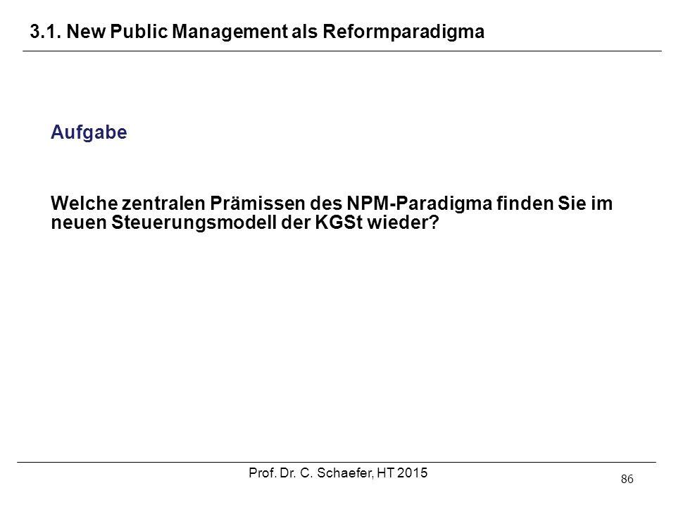 3.1. New Public Management als Reformparadigma 86 Aufgabe Welche zentralen Prämissen des NPM-Paradigma finden Sie im neuen Steuerungsmodell der KGSt w