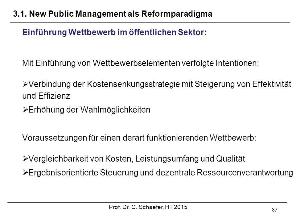 3.1. New Public Management als Reformparadigma 87 Einführung Wettbewerb im öffentlichen Sektor: Mit Einführung von Wettbewerbselementen verfolgte Inte