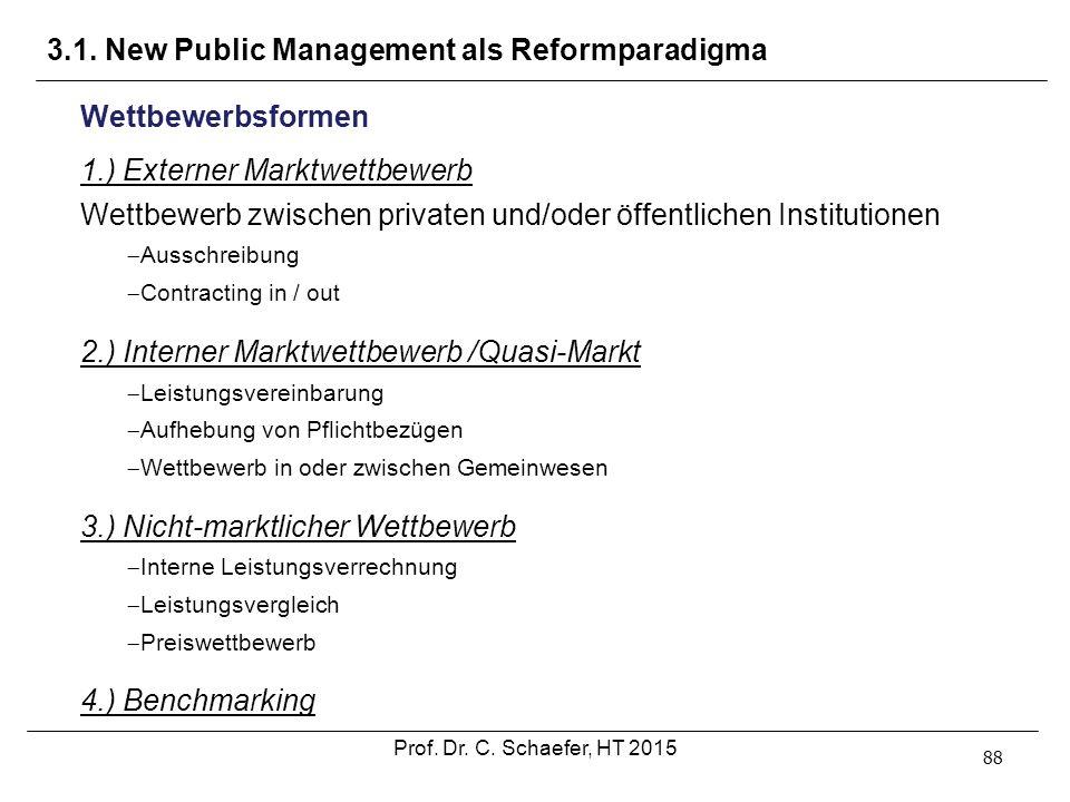 3.1. New Public Management als Reformparadigma 88 Wettbewerbsformen 1.) Externer Marktwettbewerb Wettbewerb zwischen privaten und/oder öffentlichen In