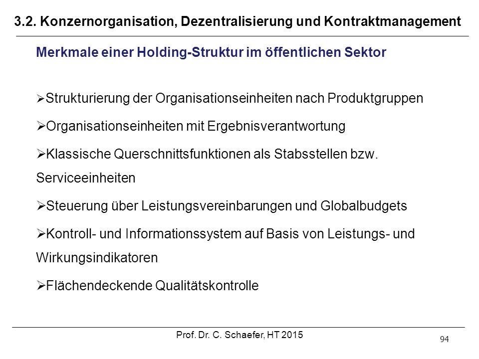 3.2. Konzernorganisation, Dezentralisierung und Kontraktmanagement 94 Merkmale einer Holding-Struktur im öffentlichen Sektor  Strukturierung der Orga