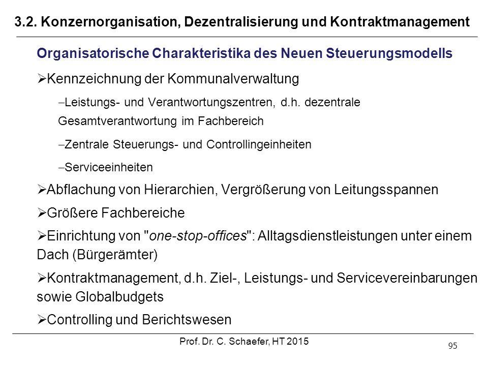 3.2. Konzernorganisation, Dezentralisierung und Kontraktmanagement 95 Organisatorische Charakteristika des Neuen Steuerungsmodells  Kennzeichnung der
