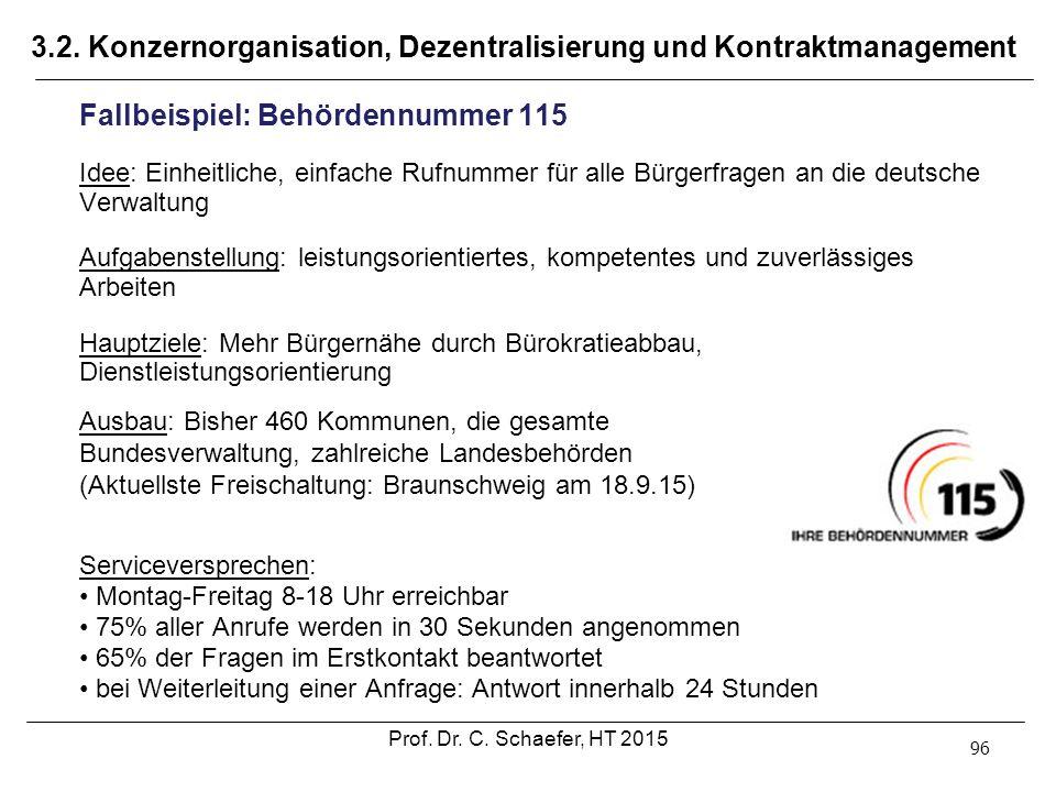 3.2. Konzernorganisation, Dezentralisierung und Kontraktmanagement 96 Fallbeispiel: Behördennummer 115 Idee: Einheitliche, einfache Rufnummer für alle