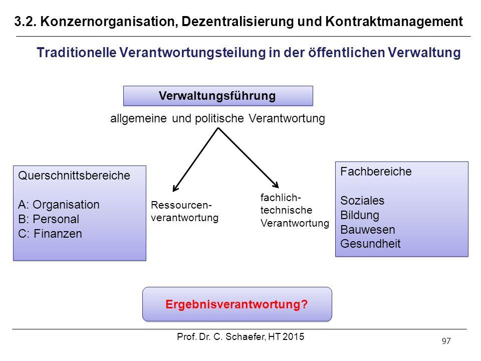3.2. Konzernorganisation, Dezentralisierung und Kontraktmanagement 97 Traditionelle Verantwortungsteilung in der öffentlichen Verwaltung Verwaltungsfü