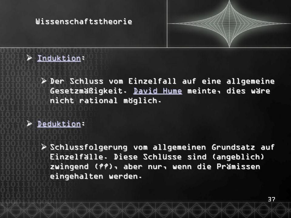 37Wissenschaftstheorie  Induktion: Induktion  Der Schluss vom Einzelfall auf eine allgemeine Gesetzmäßigkeit.
