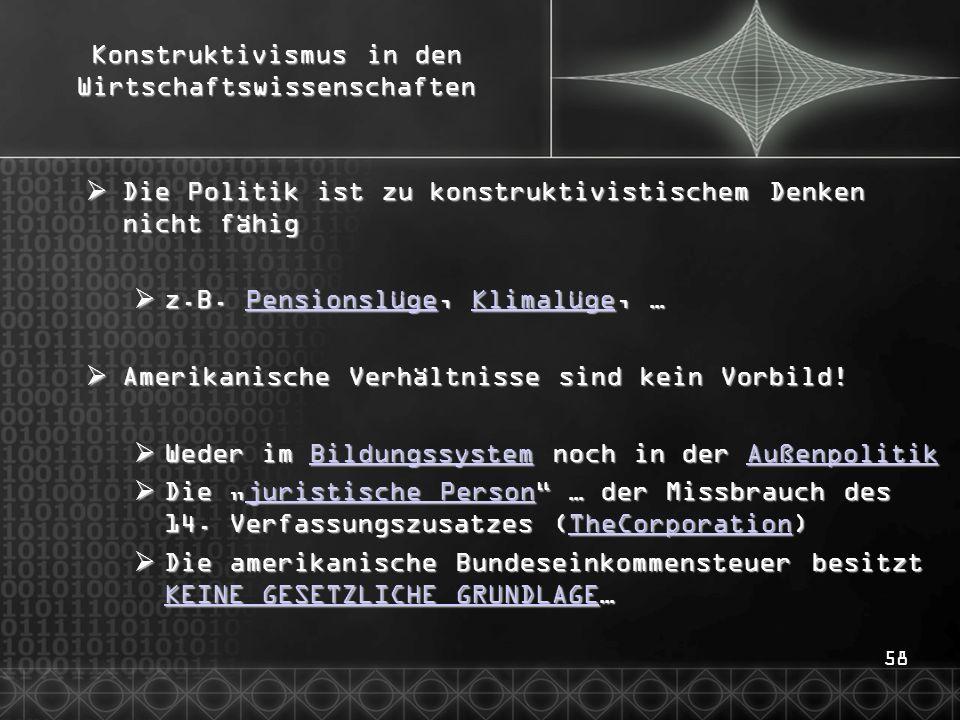 58 Konstruktivismus in den Wirtschaftswissenschaften  Die Politik ist zu konstruktivistischem Denken nicht fähig  z.B.