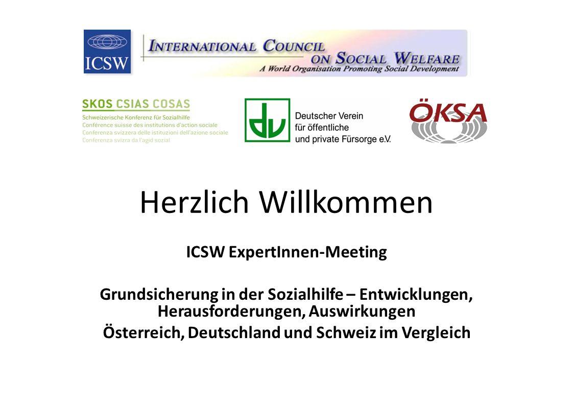 Herzlich Willkommen ICSW ExpertInnen-Meeting Grundsicherung in der Sozialhilfe – Entwicklungen, Herausforderungen, Auswirkungen Österreich, Deutschland und Schweiz im Vergleich