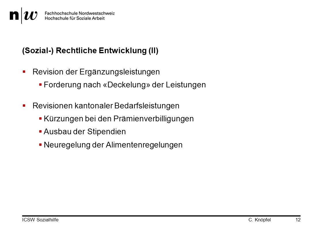 (Sozial-) Rechtliche Entwicklung (II)  Revision der Ergänzungsleistungen  Forderung nach «Deckelung» der Leistungen  Revisionen kantonaler Bedarfsleistungen  Kürzungen bei den Prämienverbilligungen  Ausbau der Stipendien  Neuregelung der Alimentenregelungen C.