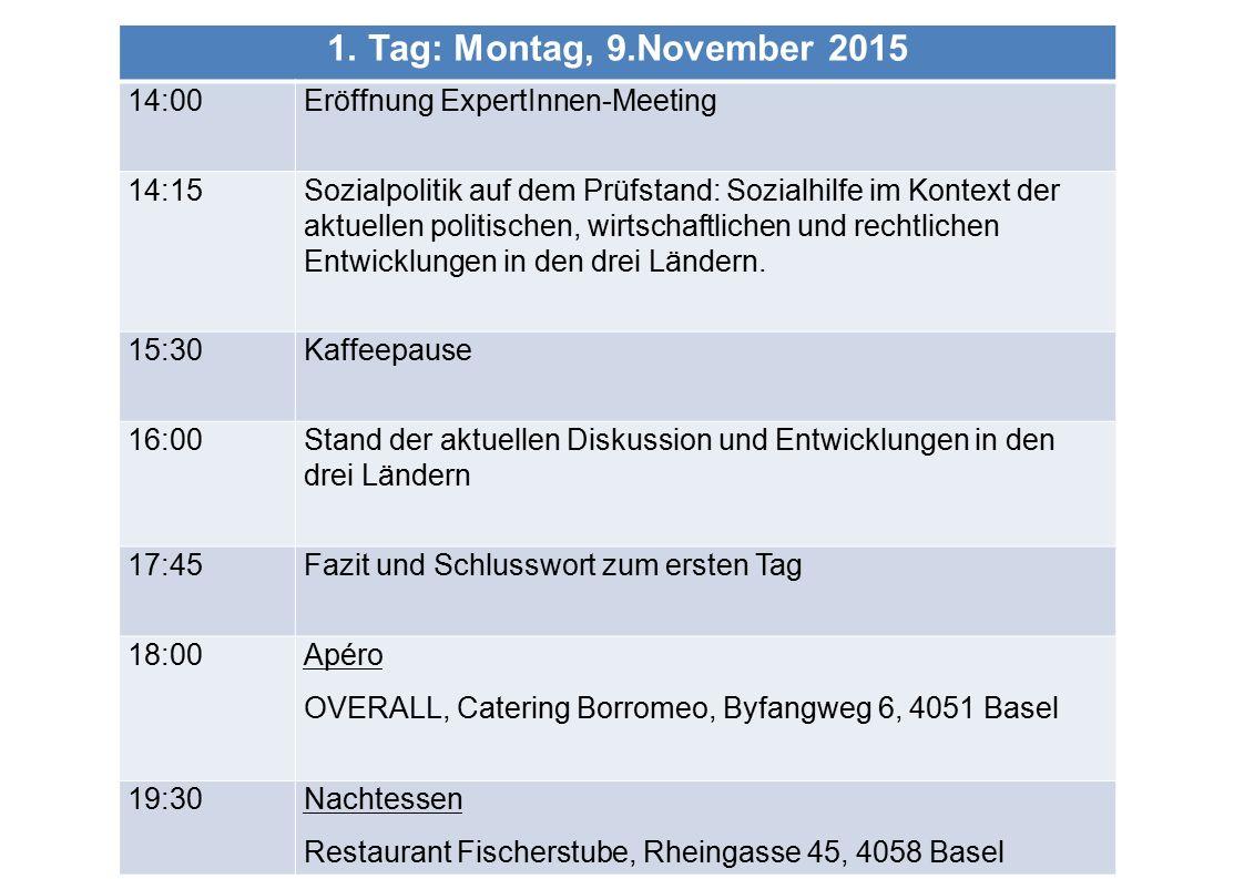 1. Tag: Montag, 9.November 2015 14:00 Eröffnung ExpertInnen-Meeting 14:15Sozialpolitik auf dem Prüfstand: Sozialhilfe im Kontext der aktuellen politis