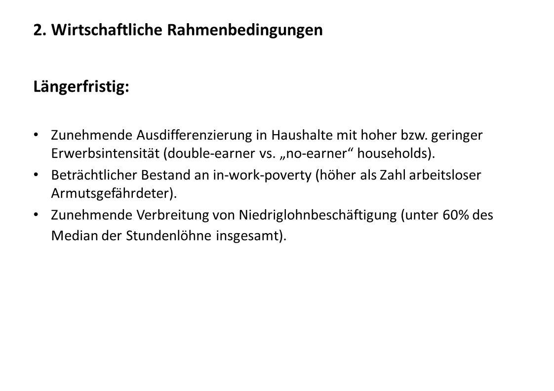 2. Wirtschaftliche Rahmenbedingungen Längerfristig: Zunehmende Ausdifferenzierung in Haushalte mit hoher bzw. geringer Erwerbsintensität (double-earne