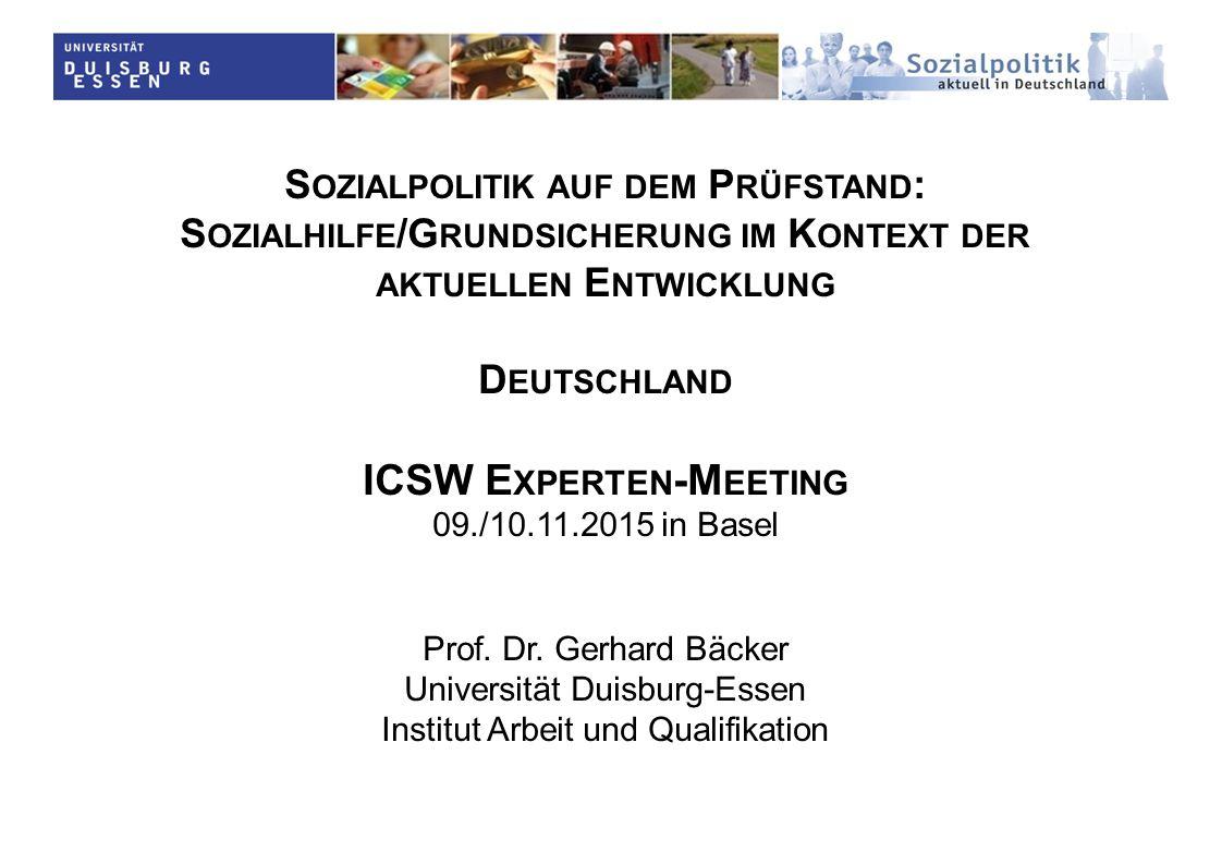 S OZIALPOLITIK AUF DEM P RÜFSTAND : S OZIALHILFE /G RUNDSICHERUNG IM K ONTEXT DER AKTUELLEN E NTWICKLUNG D EUTSCHLAND ICSW E XPERTEN -M EETING 09./10.11.2015 in Basel Prof.