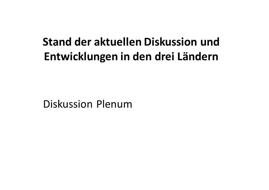 Stand der aktuellen Diskussion und Entwicklungen in den drei Ländern Diskussion Plenum