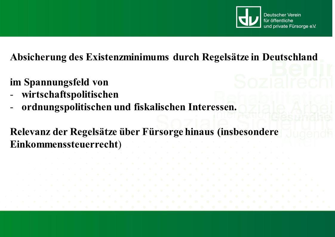 Absicherung des Existenzminimums durch Regelsätze in Deutschland im Spannungsfeld von -wirtschaftspolitischen -ordnungspolitischen und fiskalischen Interessen.