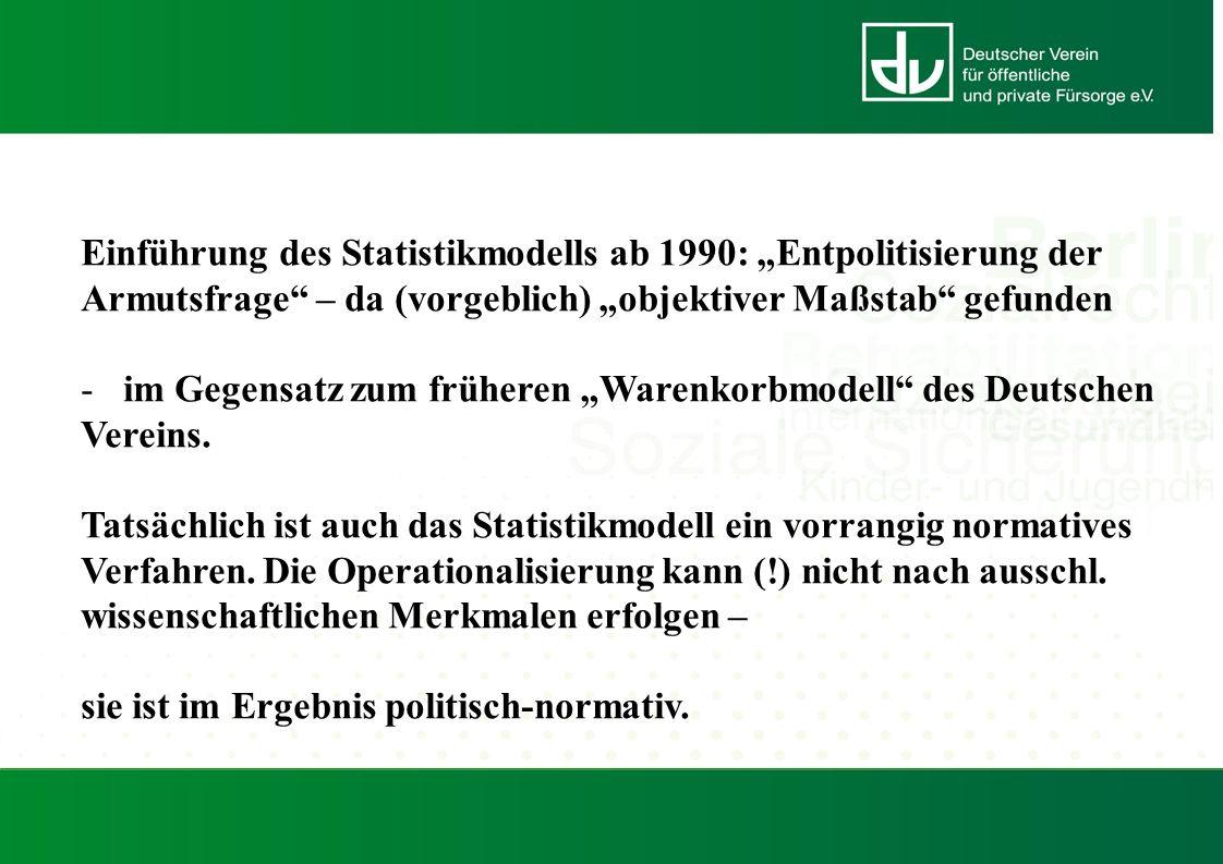 """Einführung des Statistikmodells ab 1990: """"Entpolitisierung der Armutsfrage – da (vorgeblich) """"objektiver Maßstab gefunden -im Gegensatz zum früheren """"Warenkorbmodell des Deutschen Vereins."""