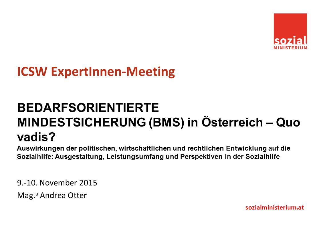 sozialministerium.at ICSW ExpertInnen-Meeting BEDARFSORIENTIERTE MINDESTSICHERUNG (BMS) in Österreich – Quo vadis.