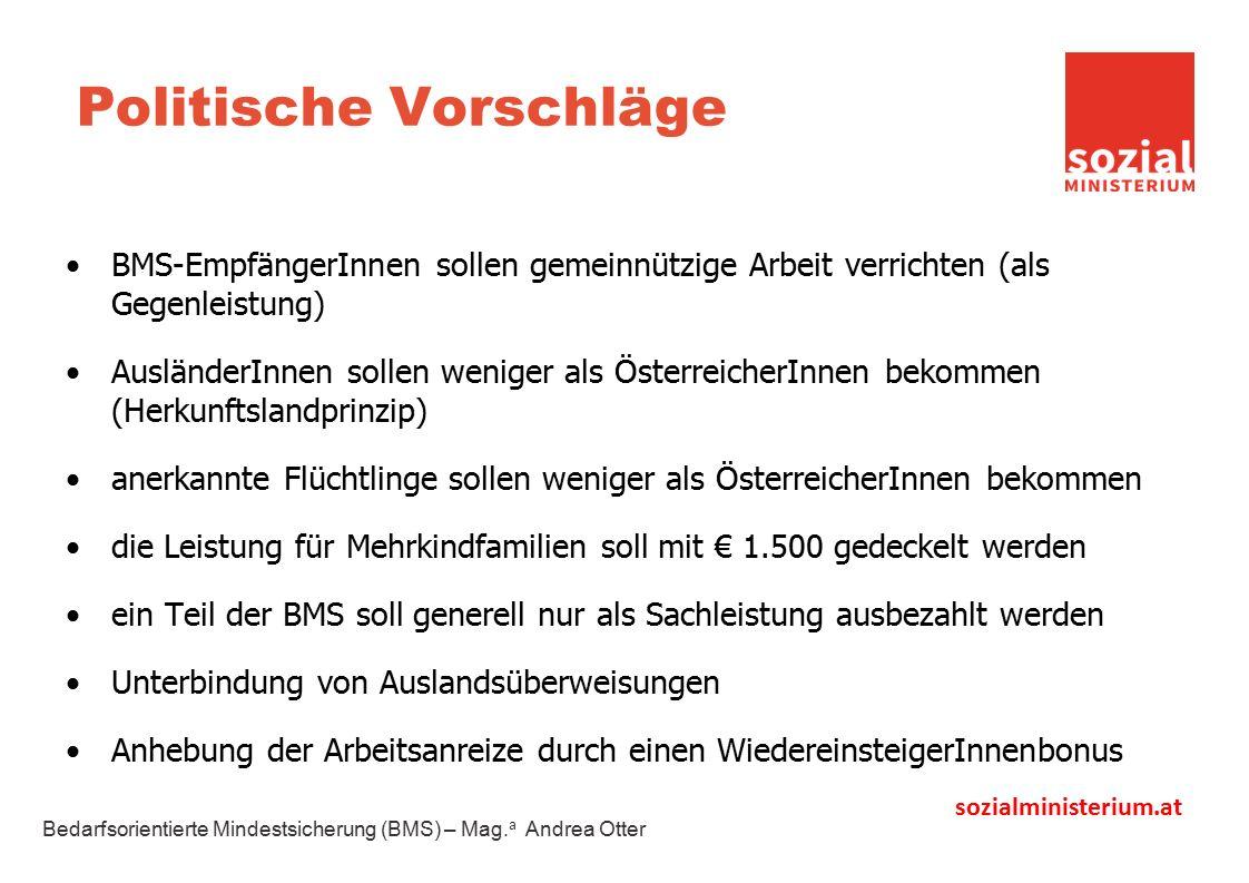 sozialministerium.at Politische Vorschläge BMS-EmpfängerInnen sollen gemeinnützige Arbeit verrichten (als Gegenleistung) AusländerInnen sollen weniger als ÖsterreicherInnen bekommen (Herkunftslandprinzip) anerkannte Flüchtlinge sollen weniger als ÖsterreicherInnen bekommen die Leistung für Mehrkindfamilien soll mit € 1.500 gedeckelt werden ein Teil der BMS soll generell nur als Sachleistung ausbezahlt werden Unterbindung von Auslandsüberweisungen Anhebung der Arbeitsanreize durch einen WiedereinsteigerInnenbonus Bedarfsorientierte Mindestsicherung (BMS) – Mag.