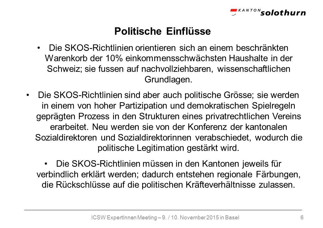 6 Politische Einflüsse Die SKOS-Richtlinien orientieren sich an einem beschränkten Warenkorb der 10% einkommensschwächsten Haushalte in der Schweiz; sie fussen auf nachvollziehbaren, wissenschaftlichen Grundlagen.